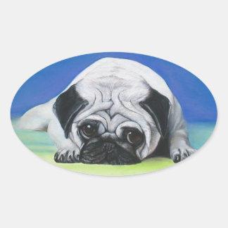 Perro del barro amasado calcomanía óval personalizadas