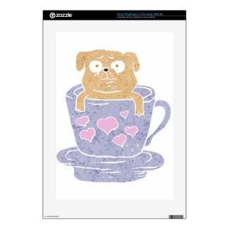 Perro del barro amasado que se sienta en taza consola PS3 calcomanía