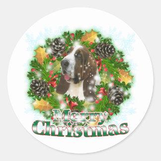 Perro del Bassett de las Felices Navidad Pegatina Redonda
