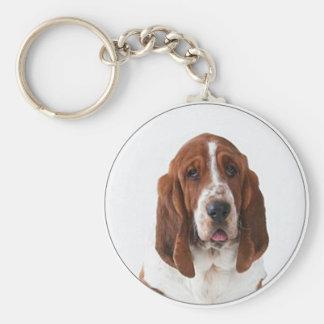 """""""Perro del Bassett """" Llavero Redondo Tipo Pin"""
