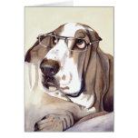 Perro del Bassett pintado en Watercolour Tarjeta De Felicitación