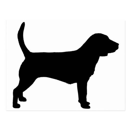 Perro del beagle (en negro) tarjeta postal