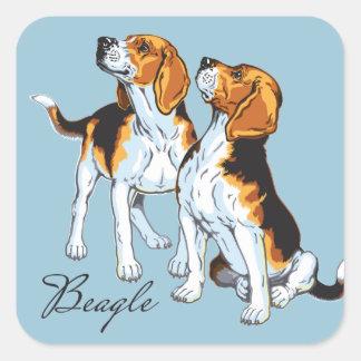perro del beagle pegatina cuadrada
