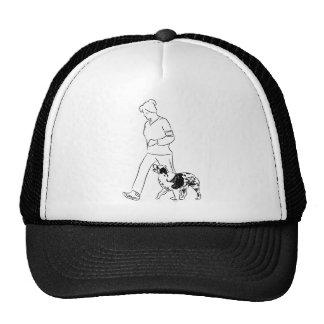 Perro del border collie del instructor que camina gorros bordados