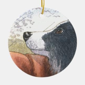 Perro del border collie que espera en coche adornos de navidad
