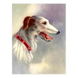 Perro del Borzoi del diseño del arte del vintage Postal