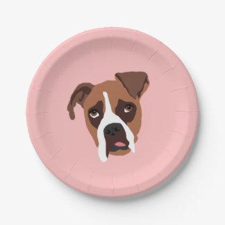 """Perro del boxeador 7"""" placas de papel platos de papel"""