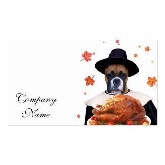 Perro del boxeador de la acción de gracias tarjetas de visita