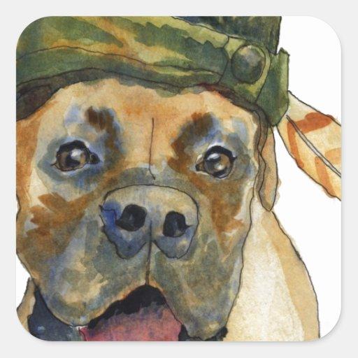 Perro del boxeador de Sherwood Colcomanias Cuadradas