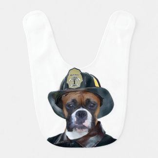 Perro del boxeador del bombero baberos de bebé
