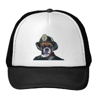 Perro del boxeador del bombero gorro de camionero