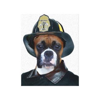 Perro del boxeador del bombero impresiones en lienzo estiradas