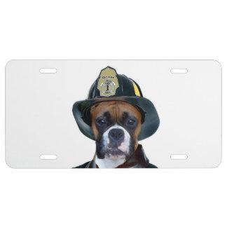 Perro del boxeador del bombero placa de matrícula