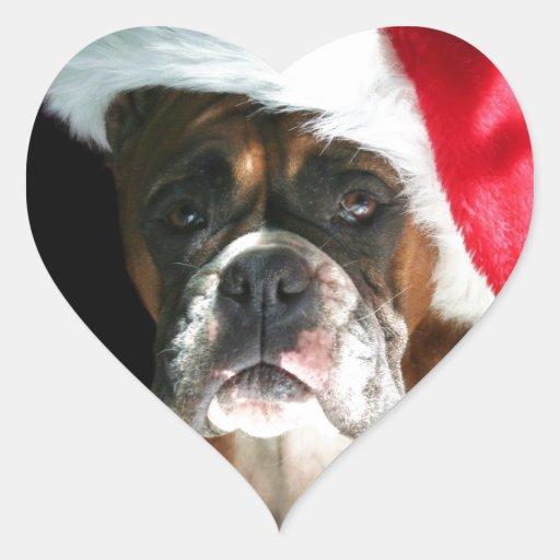 Perro del boxeador del navidad colcomanias corazon
