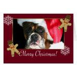 Perro del boxeador del navidad felicitaciones