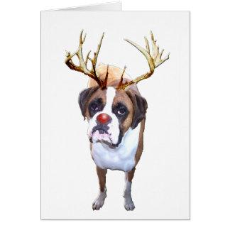 Perro del boxeador del navidad tarjeta de felicitación