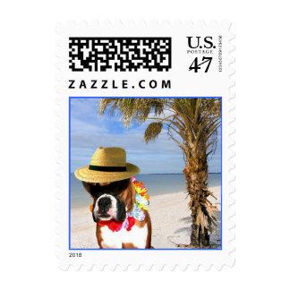 Perro del boxeador en el franqueo de la playa sellos