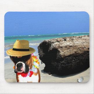 perro del boxeador en el mousepad de la playa