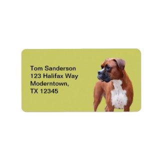 Perro del boxeador etiqueta de dirección