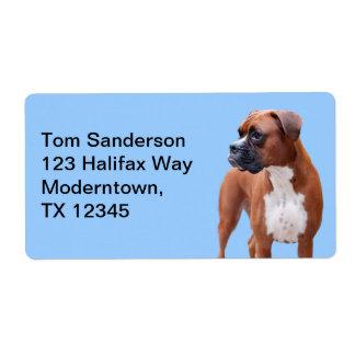 Perro del boxeador etiqueta de envío