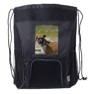 Perro del boxeador mochila de cordón