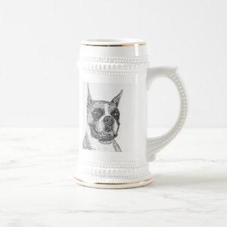 Perro del boxeador jarra de cerveza