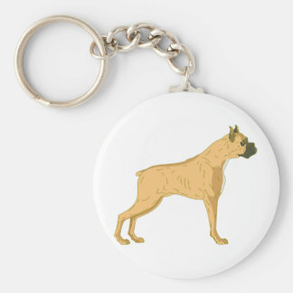 Perro del boxeador llavero redondo tipo pin