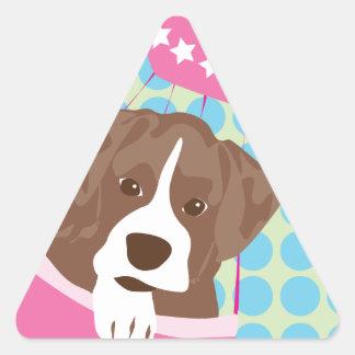 perro del boxeador pegatina triangular