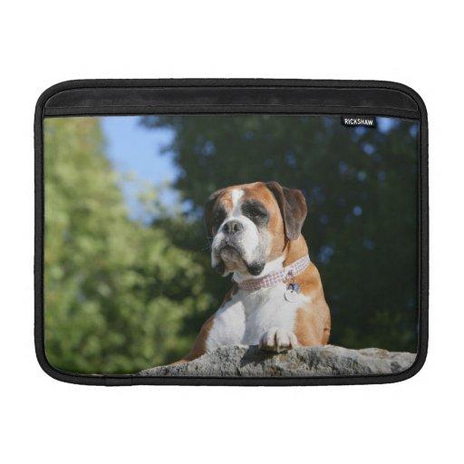 Perro del boxeador que pone en una roca fundas para macbook air