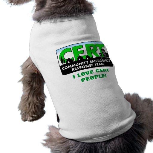 Perro del CERT camisa-blanco Ropa Para Mascota