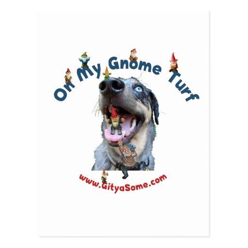 Perro del césped del gnomo postal