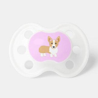 Perro del chica del Corgi con los arcos rosados Chupetes De Bebe