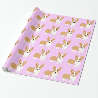 Perro del chica del Corgi con los arcos rosados Papel De Regalo