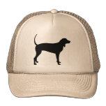 Perro del Coonhound (negro) Gorras De Camionero