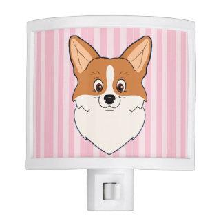 Perro del Corgi Galés con el fondo rosado Luz De Noche