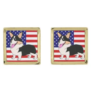 Perro del Corgi Galés con la bandera americana Gemelos Dorados