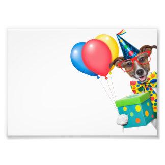 Perro del cumpleaños con el lazo y los vidrios de cojinete