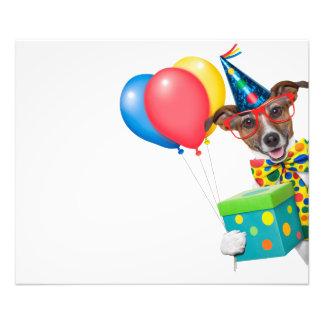 Perro del cumpleaños con el lazo y los vidrios de impresion fotografica