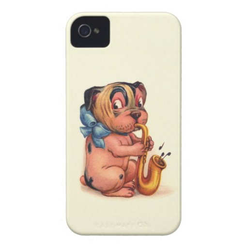 Perro del cumpleaños con el saxofón Case-Mate iPhone 4 protector