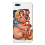 Perro del cumpleaños con el saxofón iPhone 5 coberturas