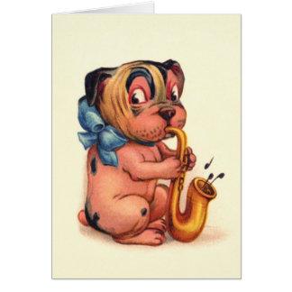 Perro del cumpleaños con el saxofón tarjeta de felicitación