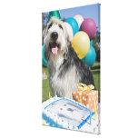 Perro del cumpleaños impresiones de lienzo