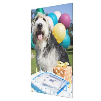 Perro del cumpleaños impresion de lienzo