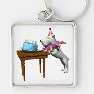 Perro del cumpleaños llavero cuadrado plateado