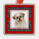 Perro del damasco del mascota/foto elegantes cuida ornamento de navidad