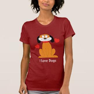 Perro del dibujo animado con los corazones camisetas