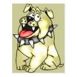 Perro del dibujo animado con sonrisa grande postal