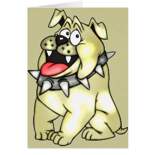 Perro del dibujo animado con sonrisa grande tarjetón