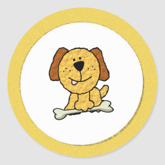 Perro del dibujo animado con un hueso en amarillo pegatina redonda