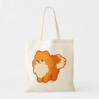 Perro del dibujo animado de Kawaii Pomeranian Bolsa Tela Barata